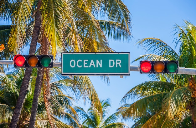 Un cartello stradale di ocean drive a miami south con semaforo