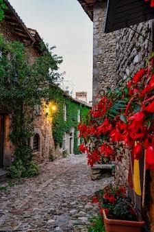 Strada con edera e fiori rossi sulle pareti del borgo medievale di perouges a lione france