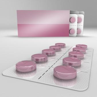 Una striscia di pillole 3d che rende l'illustrazione isometrica