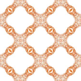 Disegno disegnato a mano a strisce. design estivo boho chic arancione immacolato. favolosa stampa tessile pronta, tessuto per costumi da bagno, carta da parati, involucro. ripetendo il bordo disegnato a mano a strisce.
