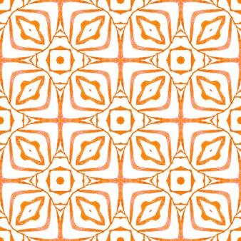 Disegno disegnato a mano a strisce. design estivo boho chic arancione radiante. ripetendo il bordo disegnato a mano a strisce. bella stampa tessile pronta, tessuto per costumi da bagno, carta da parati, involucro.