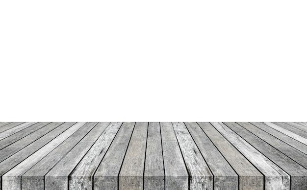 Ripiano del tavolo grigio in legno a righe su sfondo bianco. monta il tuo prodotto