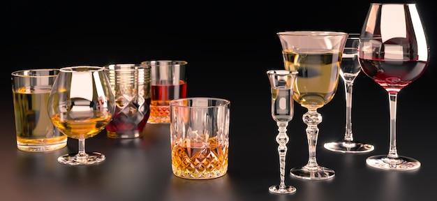 Bevande alcoliche forti, in bicchieri su uno sfondo scuro