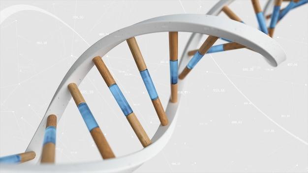 La struttura del dna umano ruota sullo sfondo di composti e numeri. illustrazione concettuale di tecnologia di scienza 3d