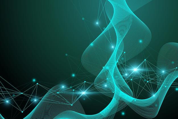 Molecola di struttura e comunicazione. dna, atomo, neuroni. sfondo scientifico della molecola per medicina, scienza, tecnologia, chimica, illustrazione