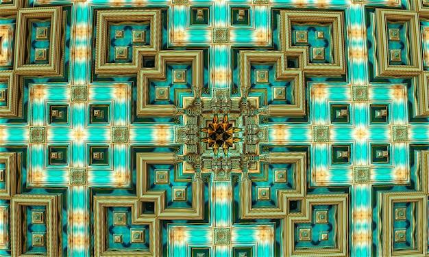 Struttura rettangolare quadrato frattale. rendering 3d. sfondo frattale.