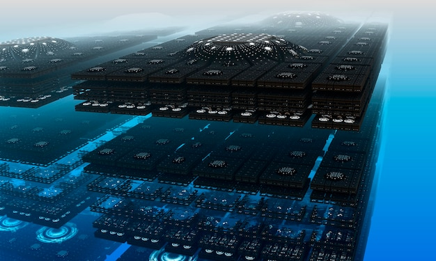 Struttura frattale quadrato rettangolare su sfondo blu nebbia. rendering 3d. sfondo frattale.