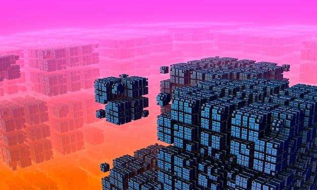 Struttura frattale quadrato rettangolare su sfondo rosa pesca e nebbia. rendering 3d. sfondo frattale.