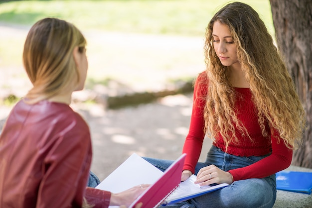 Studenti che studiano insieme seduti su una panchina all'aperto