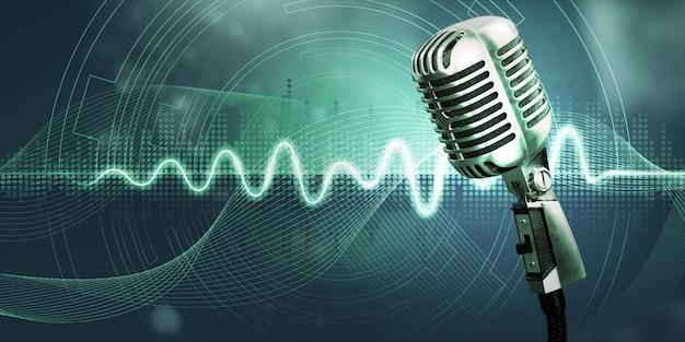 Microfono da studio e onde sonore