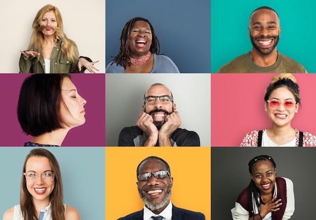 Un collage di ritratto in studio di diverse persone