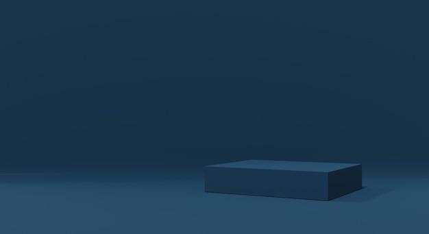Modello da studio e piedistallo blu scuro per scaffale del prodotto. interior design della stanza vuota con podio per la pubblicità. rendering 3d.