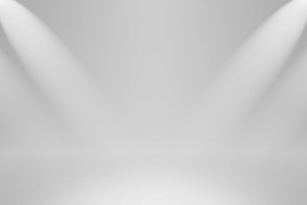Modello dello studio e fondali vuoti della stanza sulla parete semplice con la pavimentazione del prodotto del riflettore. podio da studio in bianco per la pubblicità. rendering 3d.