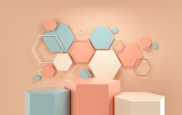Studio con podio di forme geometriche per la presentazione del prodotto