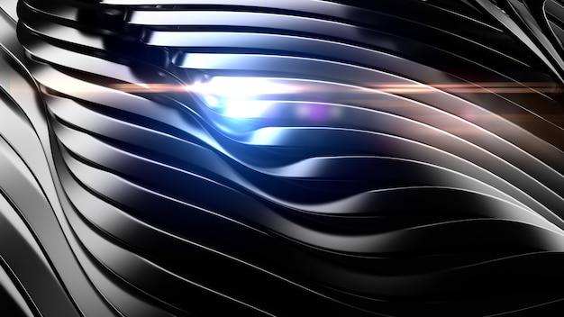 Elegante sfondo nero con riflesso lente. illustrazione 3d