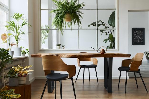 Interni eleganti e botanici della sala da pranzo con tavolo in legno di design artigianale, sedie, un sacco di piante, finestra, mappa poster e accessori eleganti nell'arredamento moderno della casa. modello.