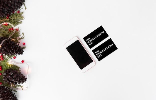 Mockup di branding elegante per visualizzare le tue opere. periodo natalizio.