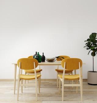 Interni eleganti di luminoso soggiorno con tavolo e tavolo sedia, con decorazione. salone interno mockup. camera dal design moderno con luce naturale. rendering 3d