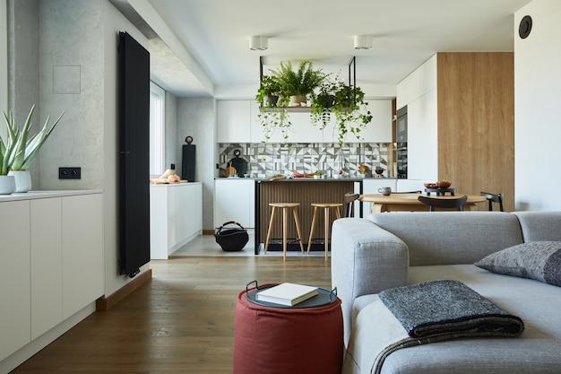Elegante design degli interni del soggiorno con divano grigio e accessori spazio da pranzo sullo sfondo
