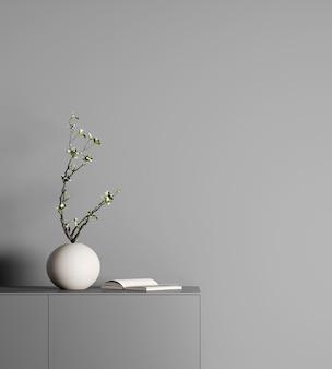 Elegante arredamento moderno con vaso bianco