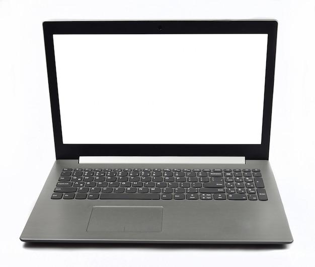 Computer portatile moderno alla moda isolato su superficie bianca
