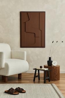 Elegante e moderno soggiorno interno con struttura dipinta poltrona comò vintage template