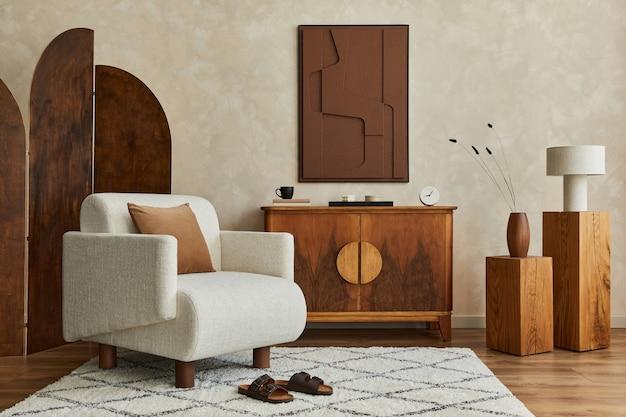 Elegante e moderno soggiorno interno con struttura dipinta poltrona comò vintage template Foto Premium