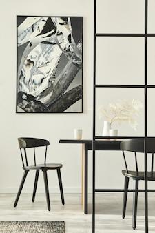 Interni eleganti open space con cornice per poster mock up e modello di arredamento moderno per la tavola familiare