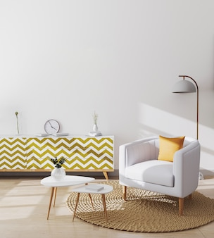 Elegante salotto scandinavo interno dell'appartamento moderno con poltrona bianca e cuscino giallo, tavolino design e armadi, modello di soggiorno, rendering 3d