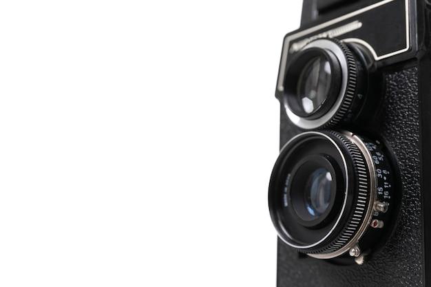 Elegante fotocamera vintage con due obiettivi fotografici