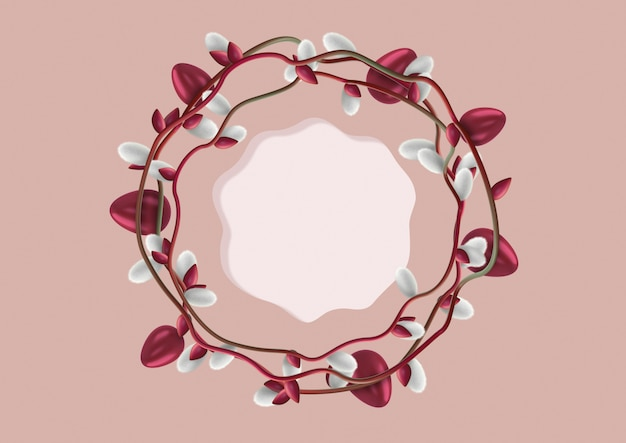 Elegante corona di uova di pasqua decorate e fiori di salice (amenti) con un modello per scrivere testo o congratulazioni