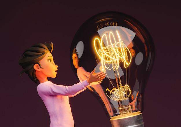 Personaggio femminile stilizzato 3d che tiene una lampadina illuminata gigante. rendering 3d