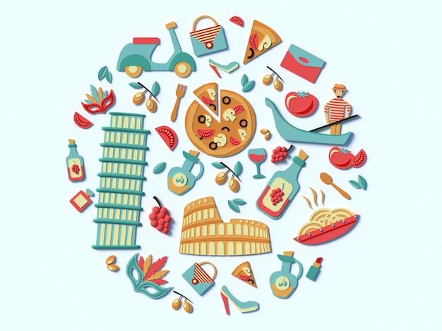 Una raccolta stilizzata delle attrazioni dell'italia cibo ed edifici di roma 3d icone cerchio rotondo