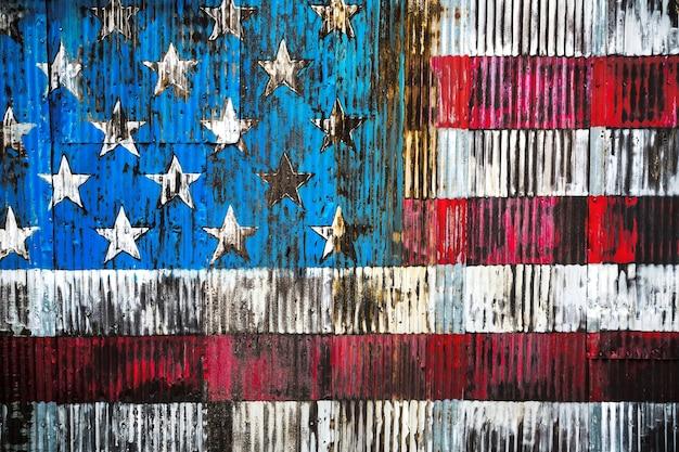 Immagine stilizzata della bandiera americana su un recinto arrugginito
