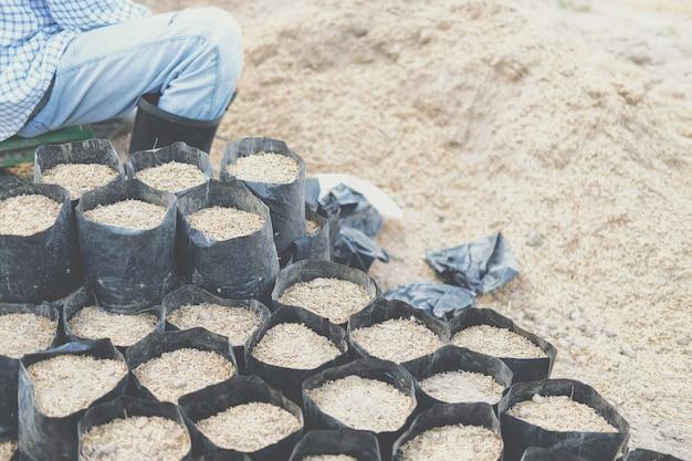 Materiali di substrato per la coltivazione di piante. terreno e fertilizzante nel sacchetto di semina per il trapianto di piantine in fattoria