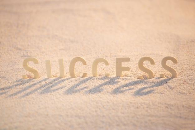 Successo - concetto di motivazione aziendale con alfabeto in legno messo sulla spiaggia di sabbia. citazione ispiratrice. parole motivazionali