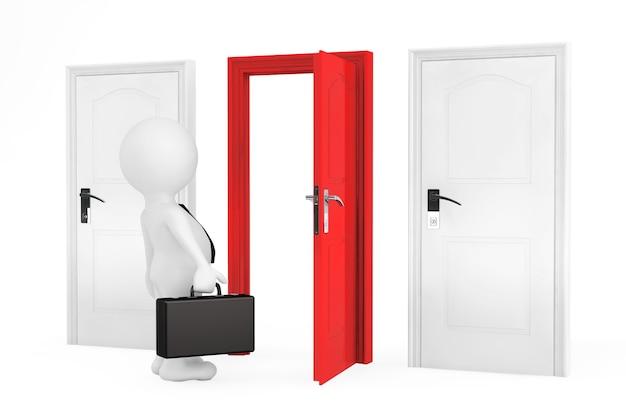 Concetto di successo. uomo d'affari e tre porte su sfondo bianco