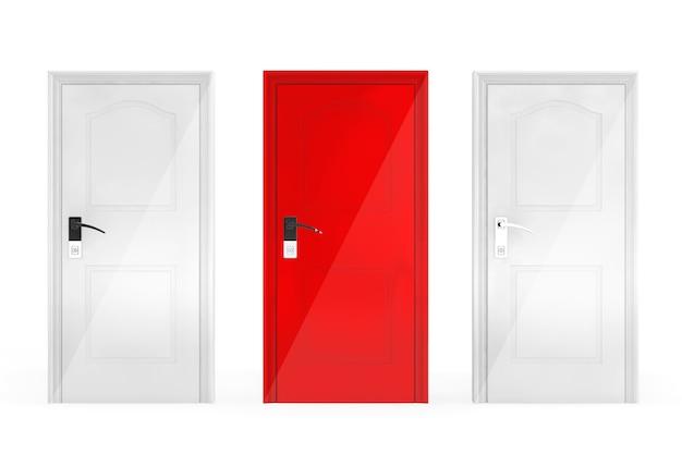 Concetto di successo. tre porte su sfondo bianco