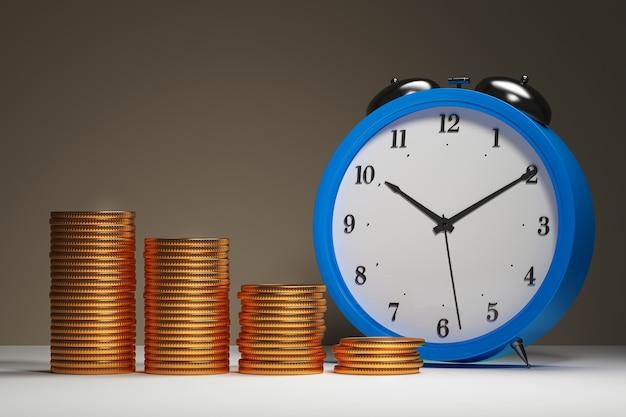 Metafora di ricchezza di successo - il tempo di fare molti soldi o il tempo è denaro - illustrazione 3d