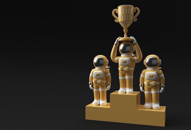 L'astronauta di successo ha ottenuto il rendering 3d del trofeo del primo premio.