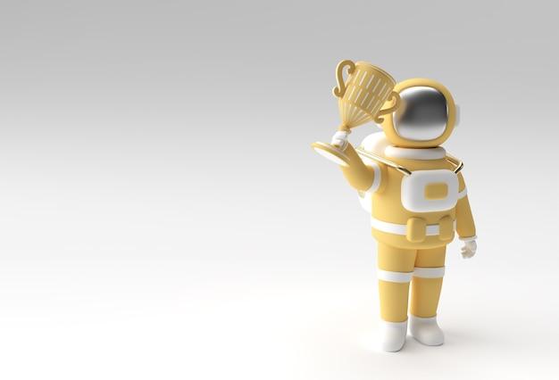 L'astronauta di successo ha ottenuto il primo premio trofeo 3d rendering.