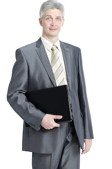 Imprenditore di successo con cartella in pelle.isolato sul muro bianco