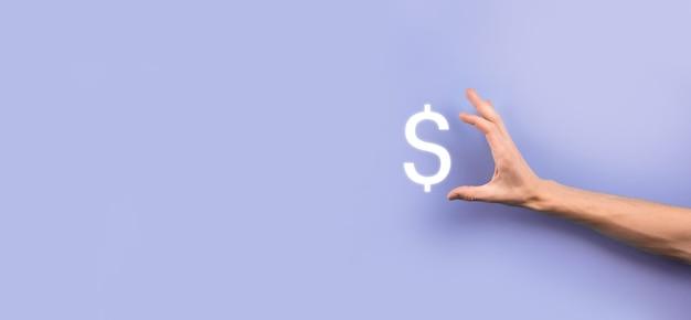 Concetto di investimento di simbolo finanziario internazionale di successo con uomo d'affari che tiene in mano una persona che mostra crescita, grafici e simbolo del dollaro, tecnologia digitale