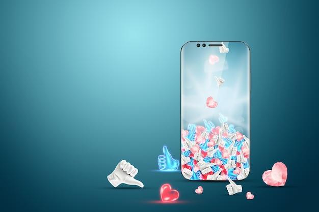 Strategia pubblicitaria di successo sui social media. sullo smartphone cadono tantissimi like. il concetto di marketing creativo, popolarità, molti abbonati.