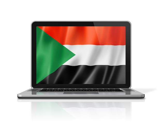 Bandiera del sudan sullo schermo del computer portatile isolato su bianco. rendering di illustrazione 3d.