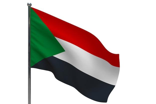 Bandiera del sudan in pole. pennone in metallo. bandiera nazionale del sudan 3d'illustrazione su bianco