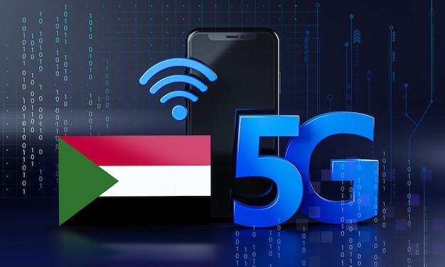 Il sudan pronto per il concetto di connessione 5g. sfondo di tecnologia smartphone rendering 3d