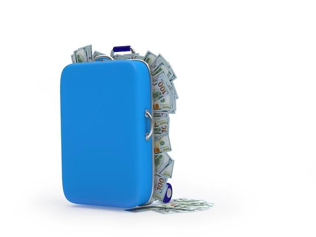 Valigia con banconote da un dollaro. 3d