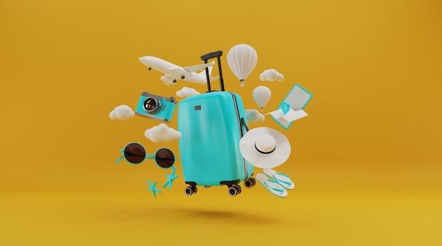 Valigia con avuto e altri elementi essenziali di viaggio, rendering 3d.