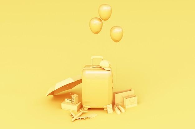 Valigia con accessori da viaggio su sfondo giallo. concetto di viaggio. rendering 3d